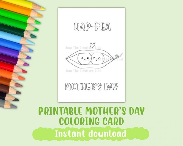 Cute Mother's day colouring card.