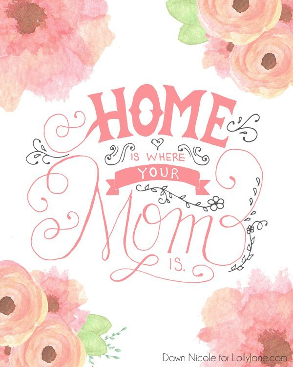 Free printable Mother's Day Card. Home is Where your mom is. Pretty floral free mother's day card download