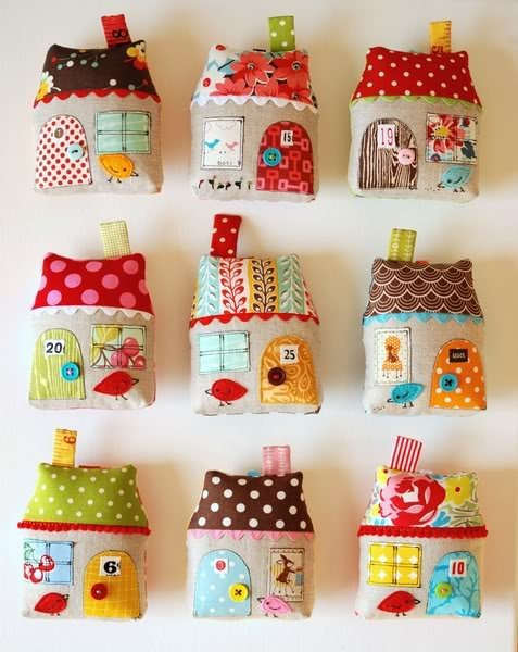 DIY little house plushies. Use up some fabric scraps making cute stuffed houses!
