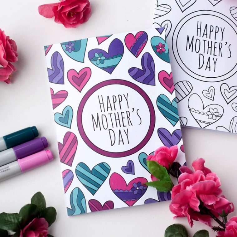 Cute hearts free colouring page card for Mother's Day