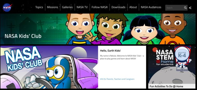 Learn about space and NASA missions with this free educational website for kids.