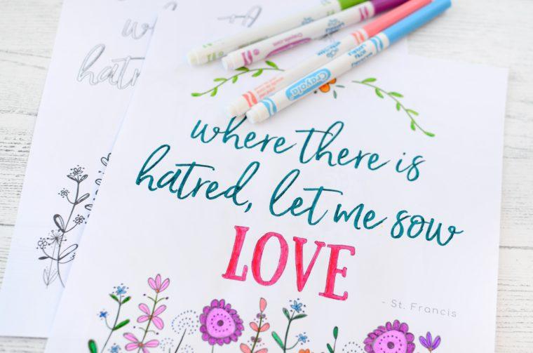 Pretty prayer free colouring page