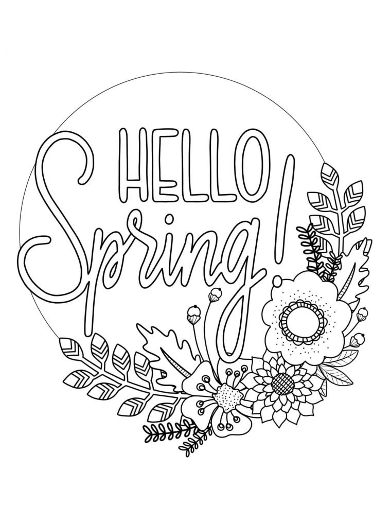 Hello Spring, free spring colouring page