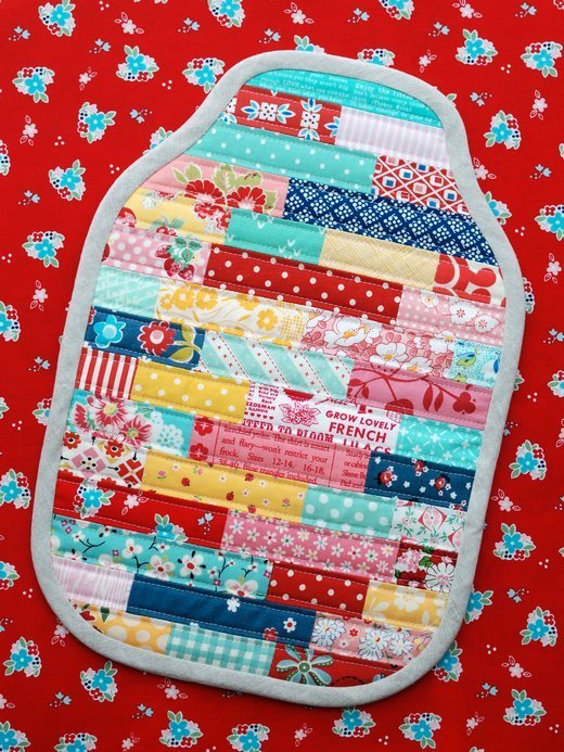 Make a scrappy water bottle cover. Use up some colourful fabric scraps in one of these 20 scrap busting projects