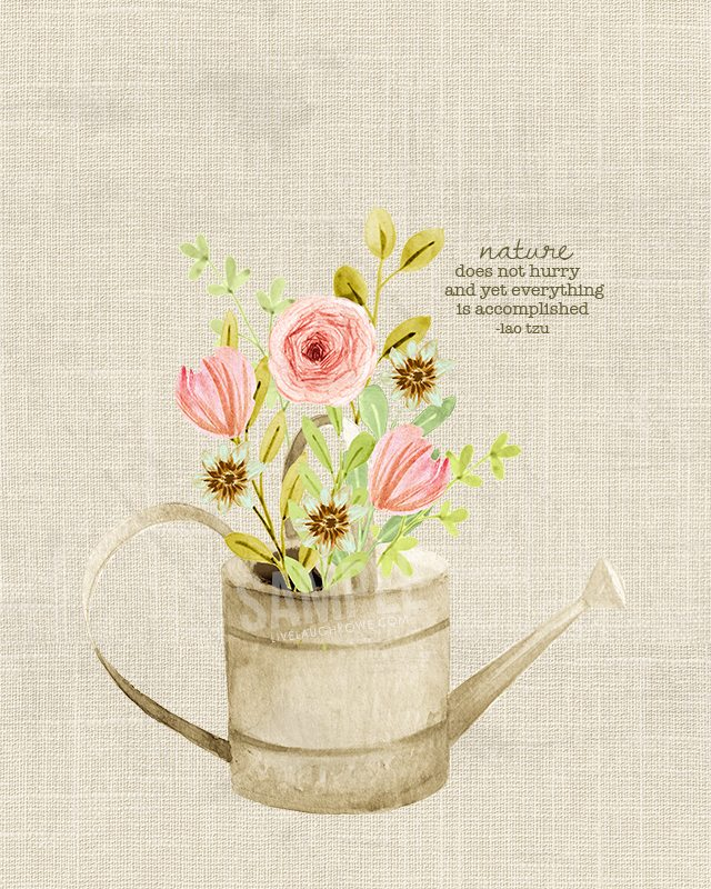 Flowers in a watering can printable art
