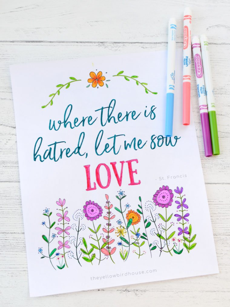 Uplifting free printable colouring page for grown ups
