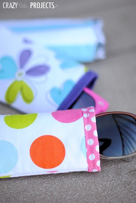 Simple sewing pattern for DIY sunglasses case