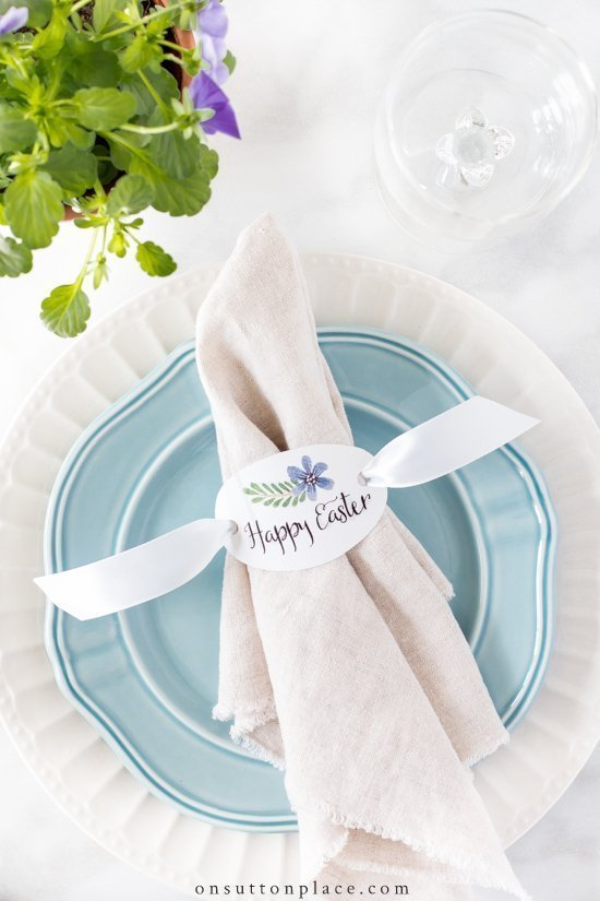 Printable Easter napkin rings