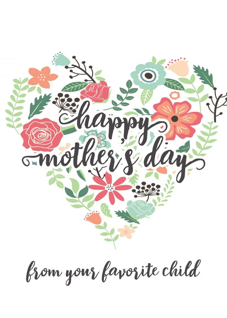 Happy Mother's Day Free printable card from your favorite child.