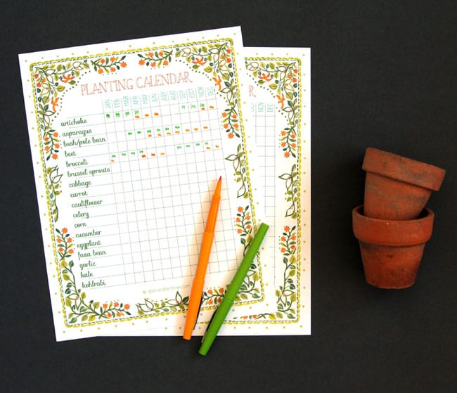 Planting calendar printable