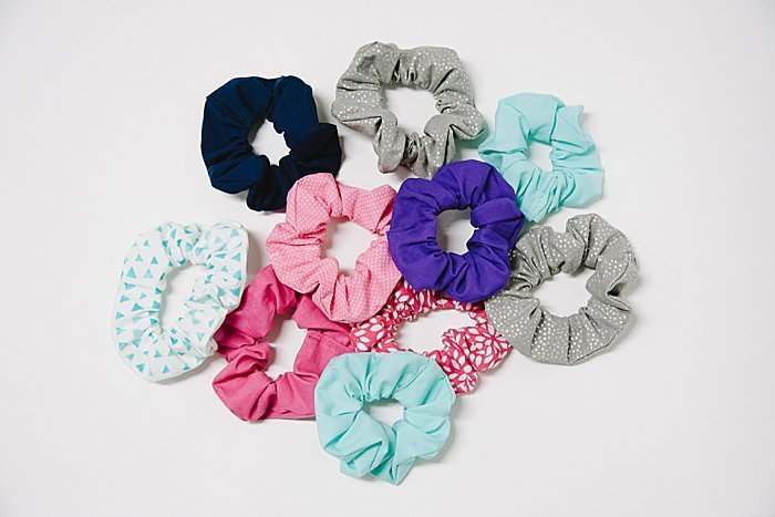 Make a handful of fun hair scrunchies with this simple sewing tutorial