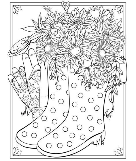 Flowers in spring boots colouring page
