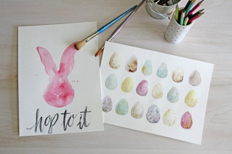 Watercolour art print, easter bunny and easter eggs