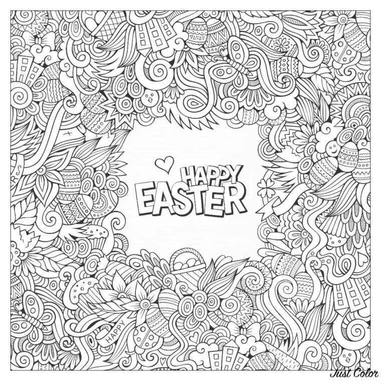 Easter colouring page for adults