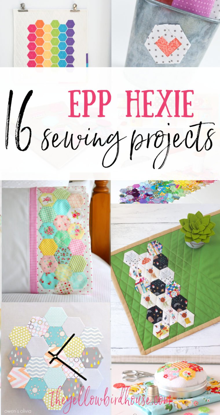 16 EPP Hexie projects to sew. 16 super cute sewing tutorials for projects using english paper pieced hexagons. DIY little hexie projects. DIY placemats, pouches and linens using EPP hexagons.