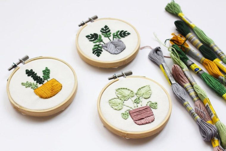 Embroidery kit for 3 mini plants.
