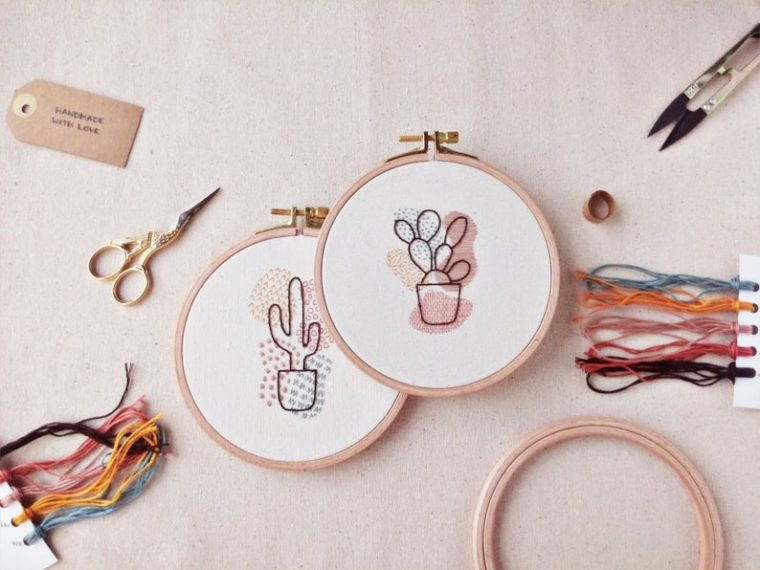 DIY beginner embroidery kits of abstract cacti