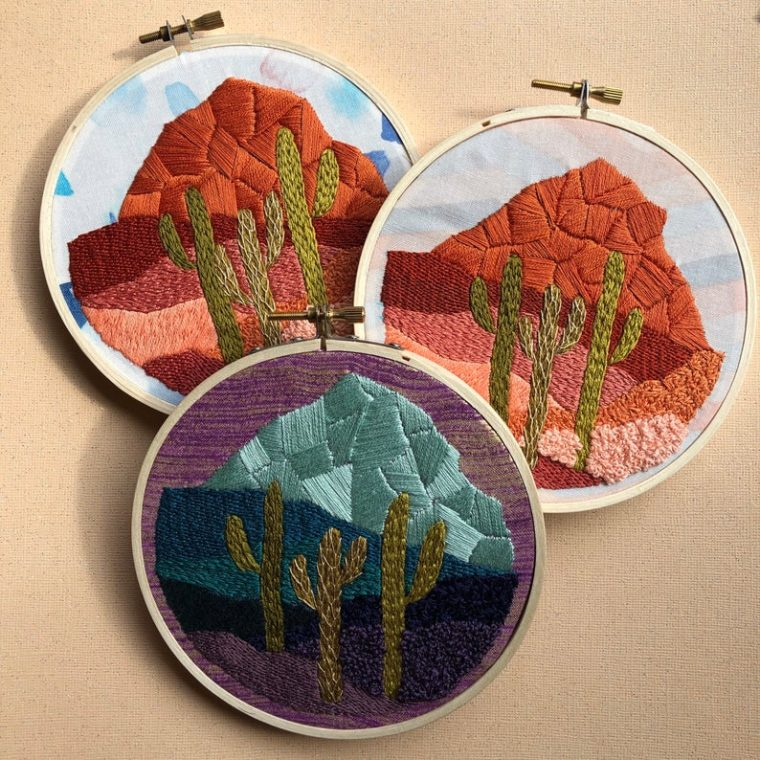 Cactus in the desert. DIY embroidery kits for plant lovers