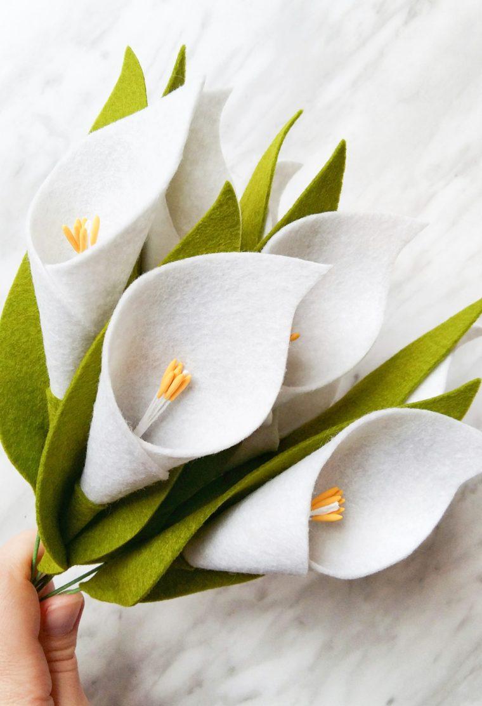 Make these pretty DIY felt calla lilies using Wilton stamens