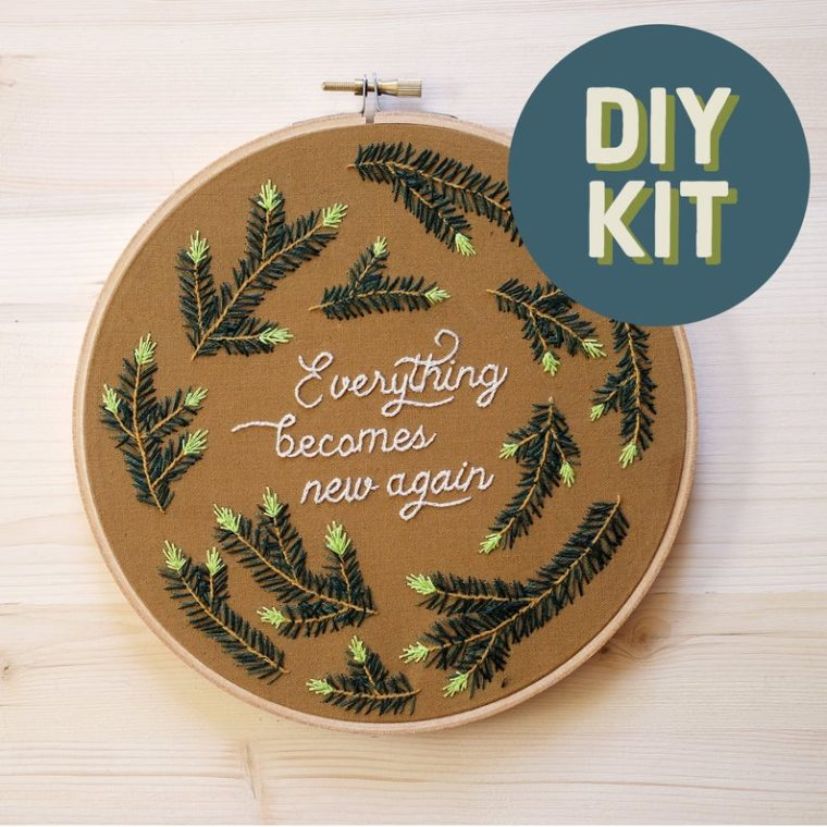Evergreen embroidery kit