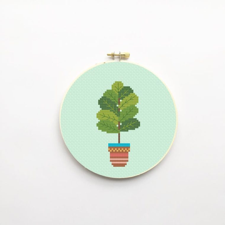 Cute cross stitch kit of a fiddle leaf plant. Embroidery for plant lovers, for beginners