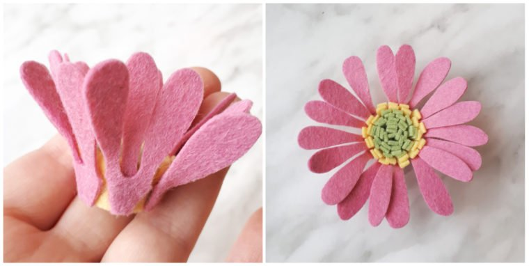 Glue on the first layer of petals