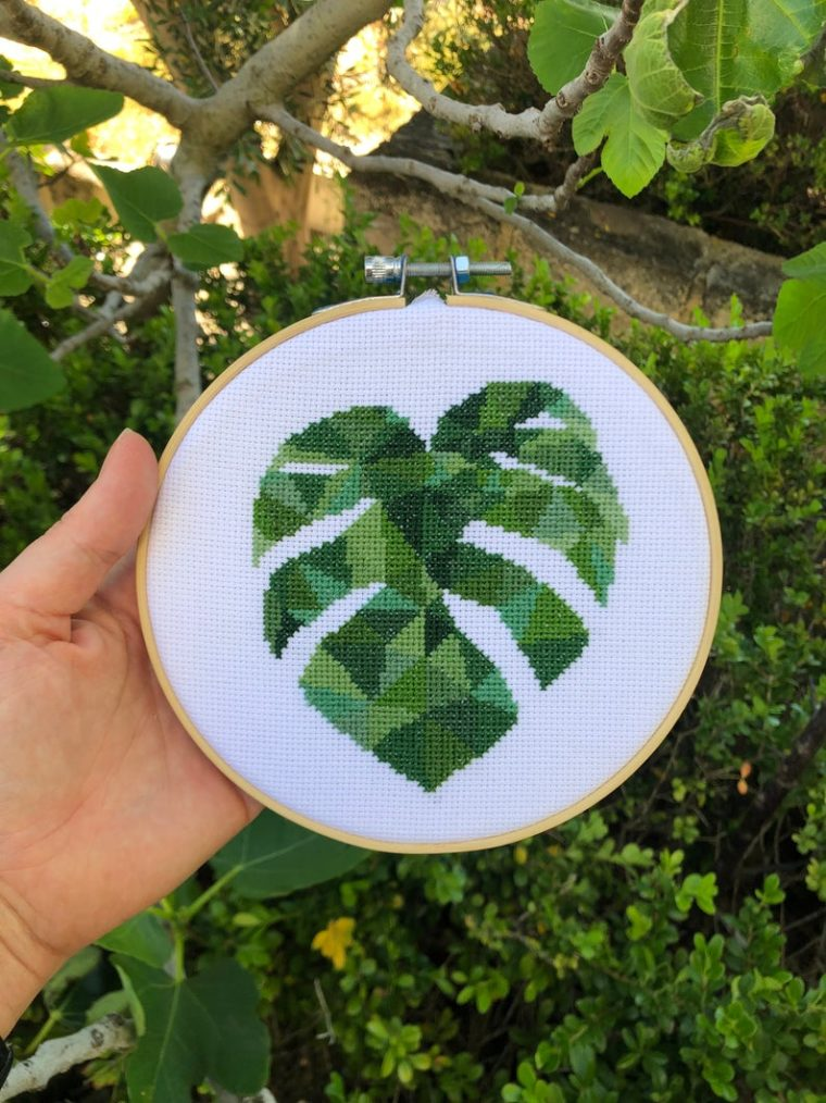Plant embroidery kit. Geometric monstera leaf embroidery