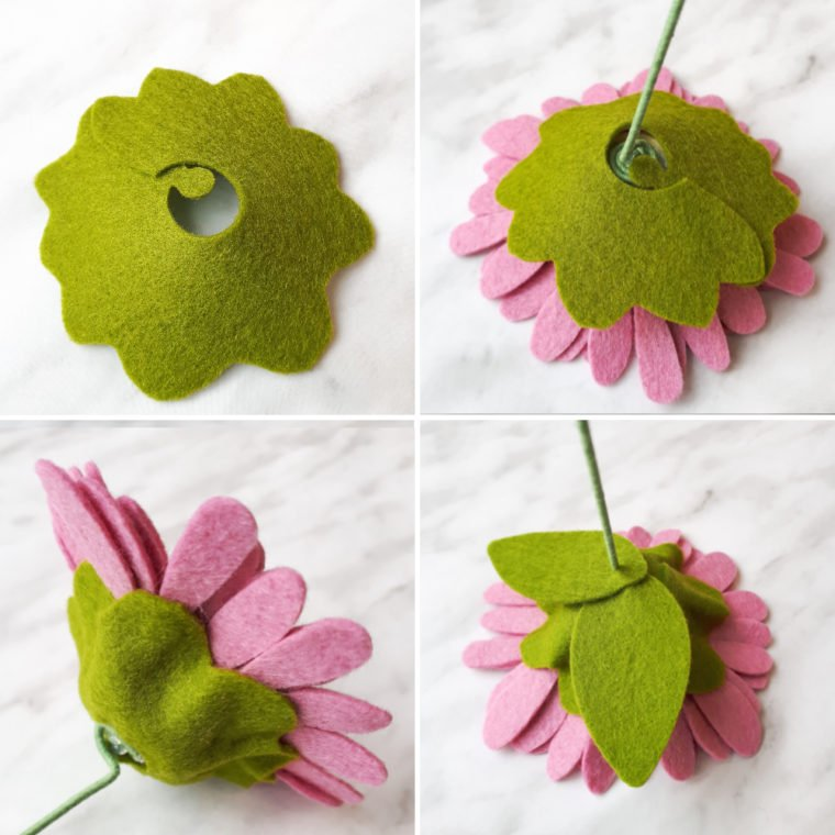 Add pretty greenery and foliage to your DIY felt flowers