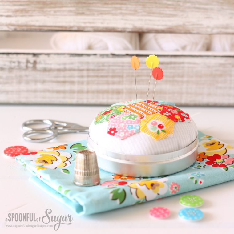 Hexie pincushion to jazz up your sewing supplies!