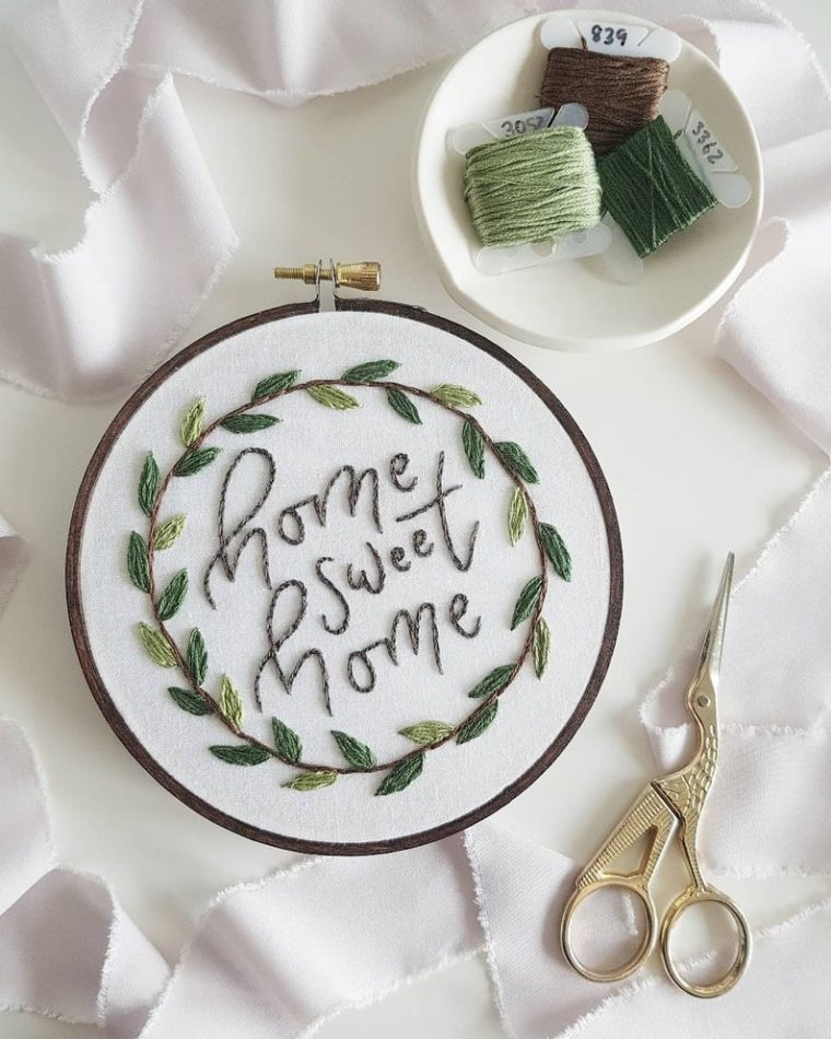 Home sweet Home with foliage wreath. DIY embroidery kits for beginners