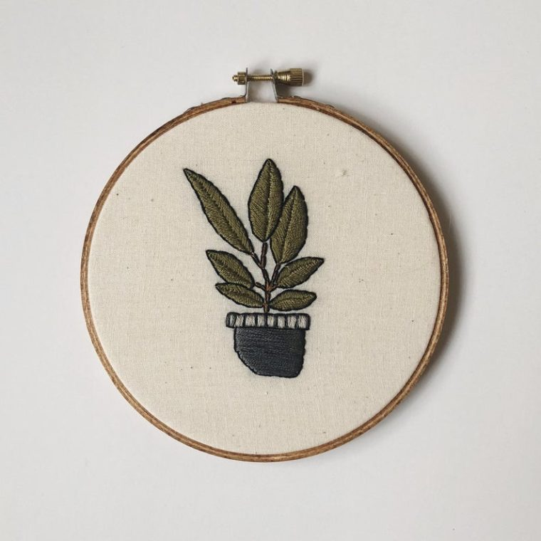 Simple house plant embroidery kit