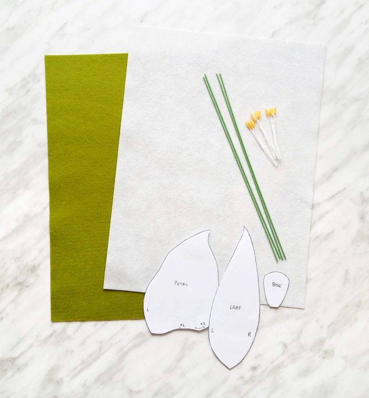 Materials needed to make beautiful felt calla lilies