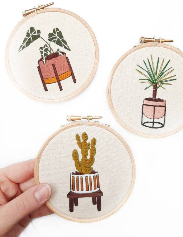 Cute house plant embroidery kits for beginners