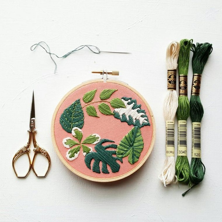 DIY Embroidery kit for a wreath of greenery!