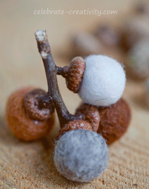 Cute and simple DIY felt ball acorn decor