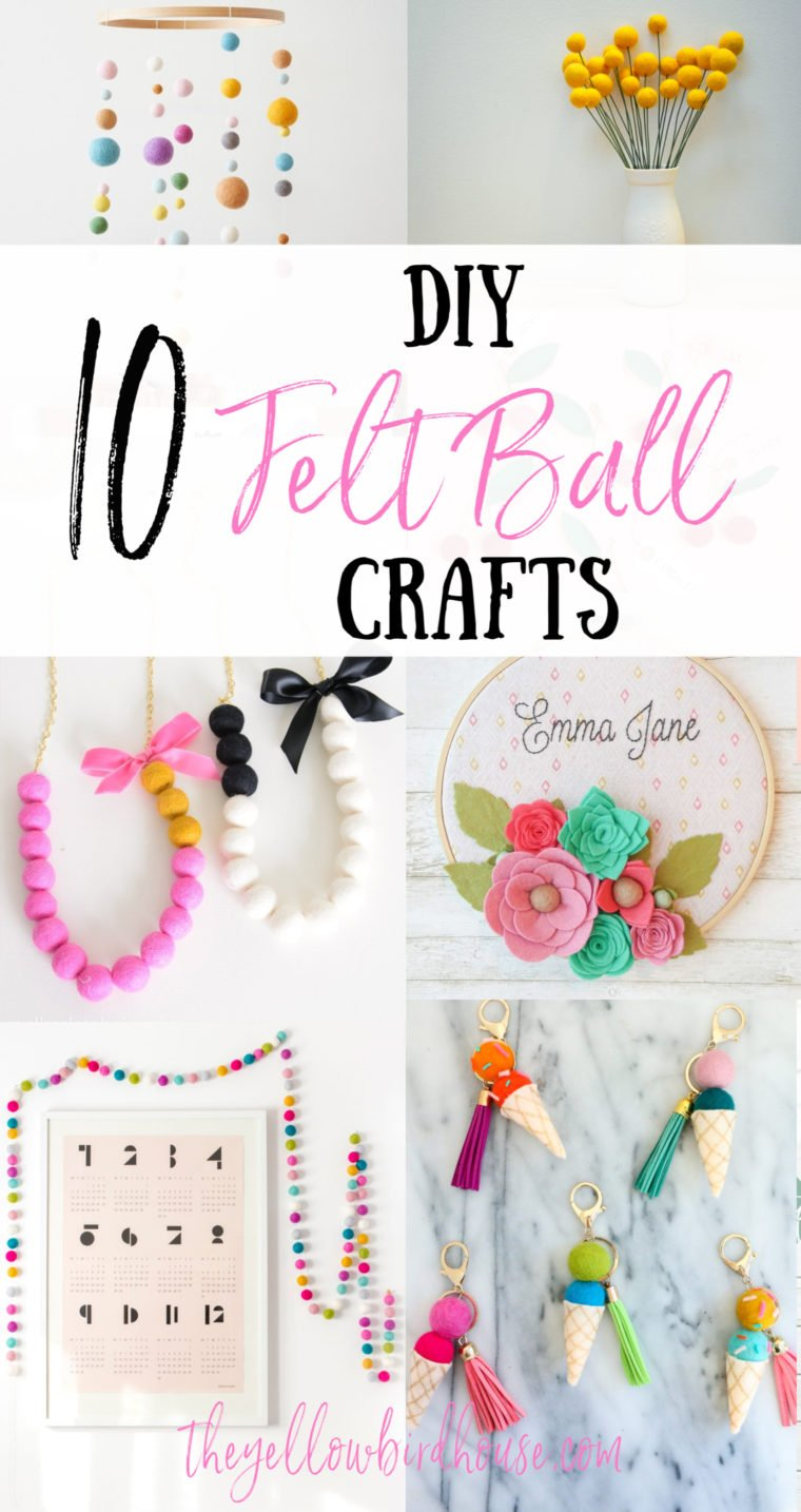Top 10 DIY felt ball crafts. The cutest DIY ideas for crafting with wool felt balls. DIY Tutorials for felt ball garlands, mobiles, keychains, decor and more. Super easy crafts to make with wool felt pom poms. Felt balls are such a simple and colourful addition to your home decor. Have fun crafting with felt!