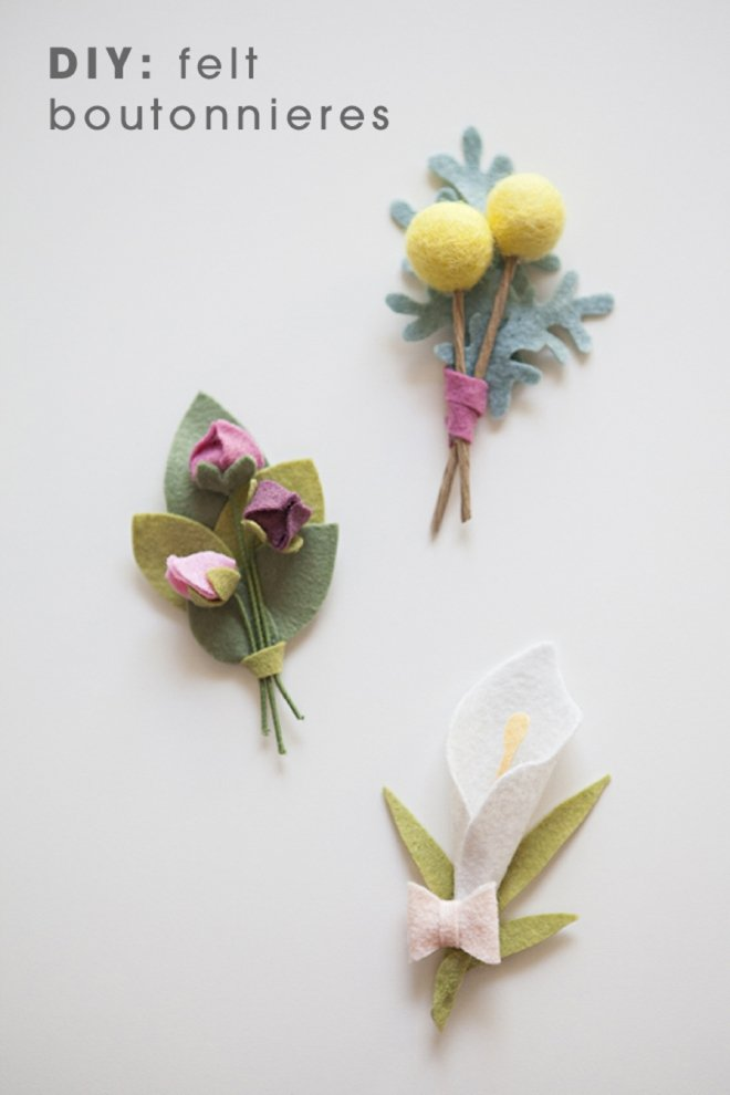 Cute boutonniere pins make with felt balls