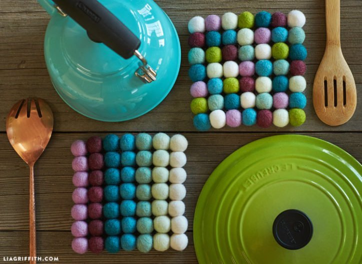 DIY felt ball trivet in rich colours