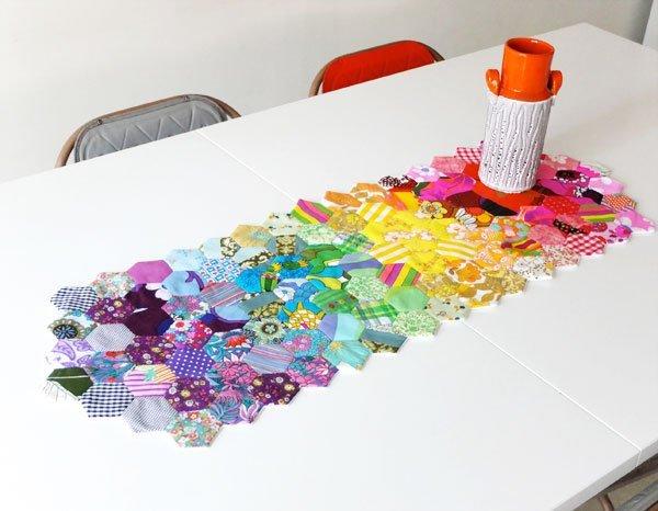 Beautiful rainbow paper pieced hexagon table runner