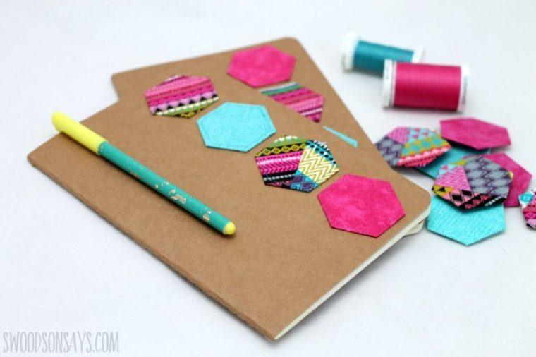 Scrap buster project. DIY hexie notebook