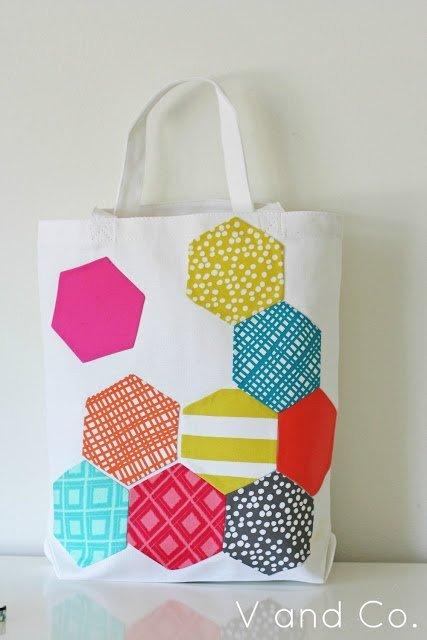 Hexagon applique tote bag tutorial
