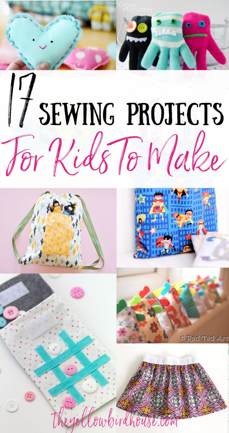 17 Simple sewing projects for kids to make. Easy sewing projects for beginners. Fun crafty things for kids to sew. DIY sewing project ideas for kids. Easy tote bags, plushies and kid's clothes to sew.