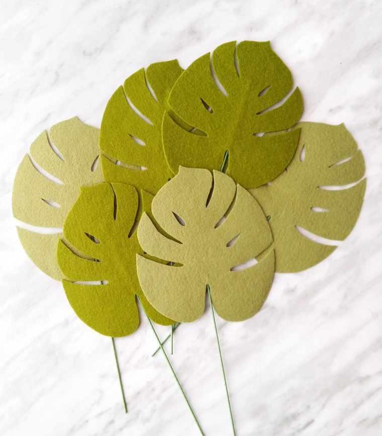 How to stiffen felt to make DIY felt monstera leaves
