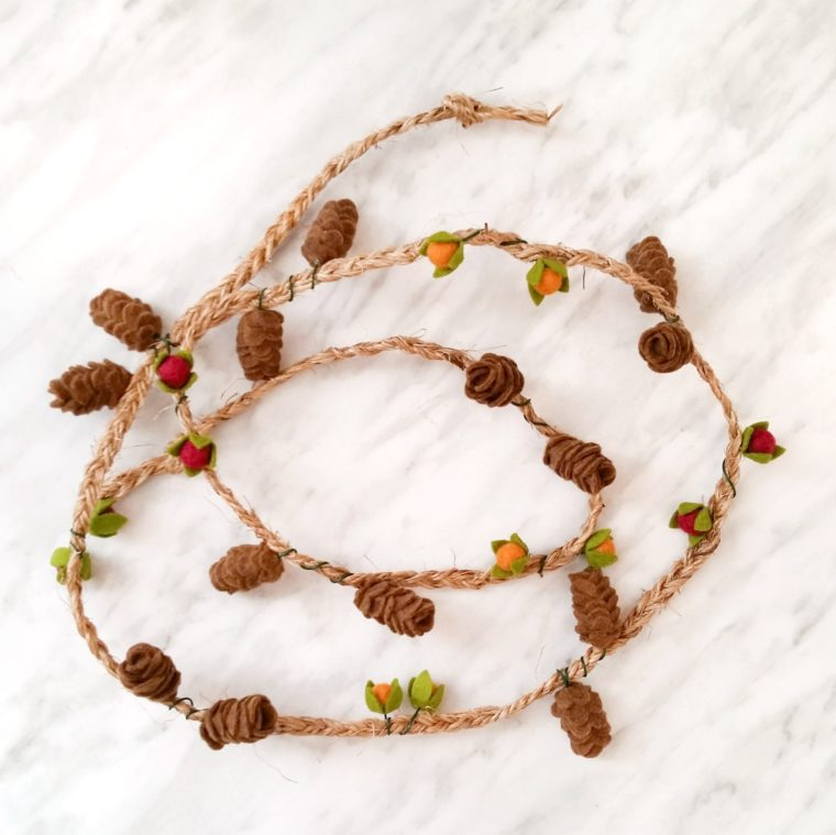 Make mini felt pinecones to create a garland