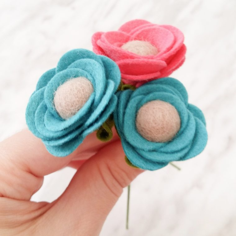How to make rolled felt flower stems.