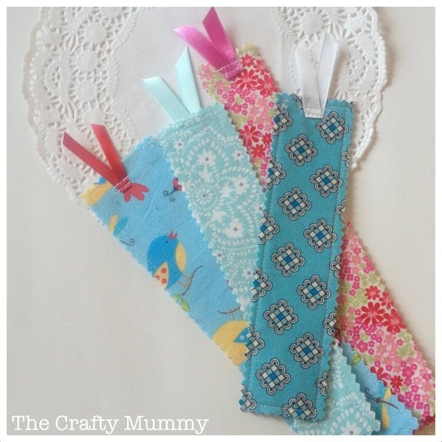 Fabric scrap bookmark DIY. Easy sewing ideas for kids to make