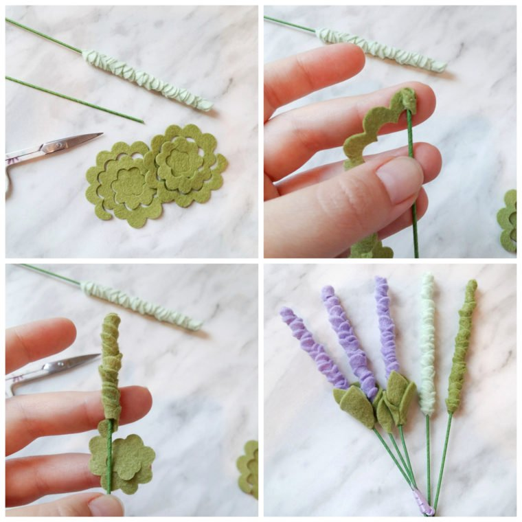 How to make felt lavender stems and greenery for felt flower bouquets.