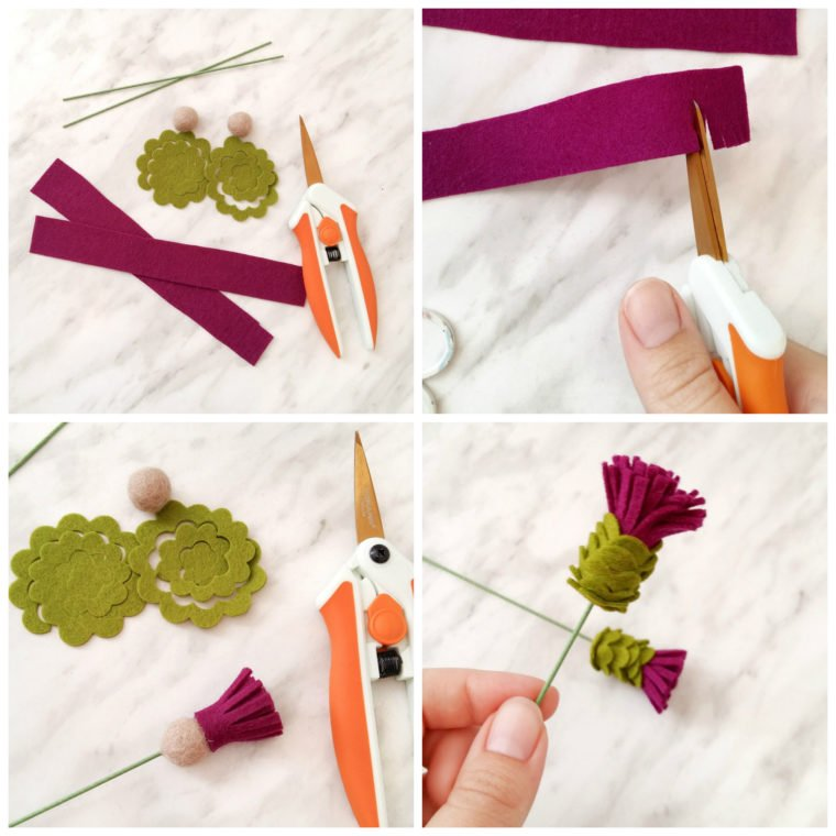 Create a beautiful felt thistle bloom out of felt