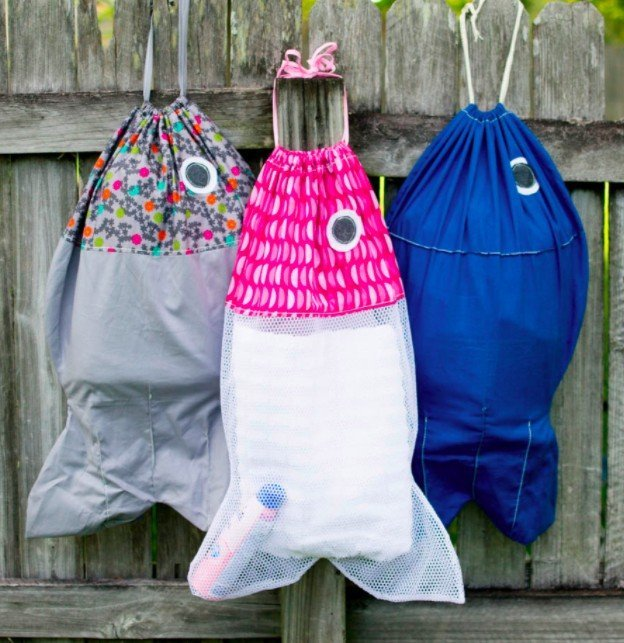 Easy sewing project for kids. DIY fish laundry bag.
