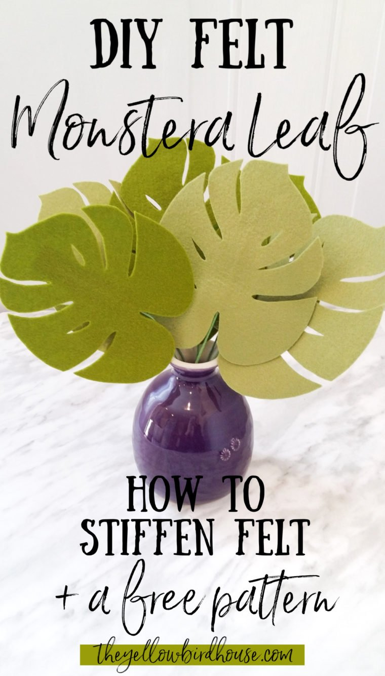 How to stiffen felt. A simple way to add structure to your felt creations. DIY felt monstera leaf with free pattern download. Make a cute arrangement of tropical leaves using wool and stiffening spray. How to make felt monstera leaves. Easy felt foliage DIY for beginners.